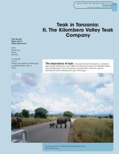 Teak in Tanzania: II. The Kilombero Valley Teak Company