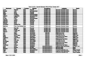 Team Austria - Special Olympics World Winter Games Stand: Seite 1
