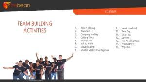 TEAM BUILDING ACTIVITIES CONTENTS