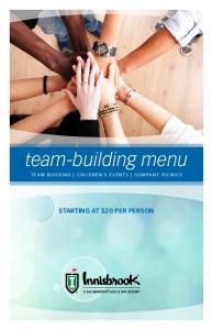 team-building menu team building children s events Company Picnics Starting at $20 Per Person
