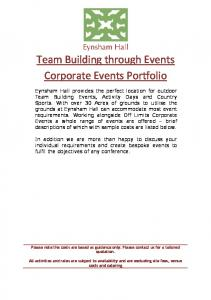 Team Building through Events Corporate Events Portfolio