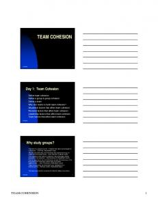 TEAM COHESION. Day 1: Team Cohesion. Why study groups? TEAM COHENSION 1