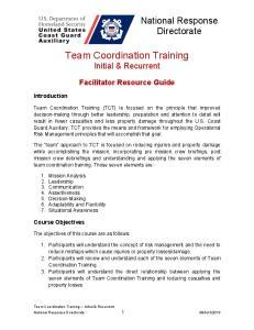 Team Coordination Training Initial & Recurrent
