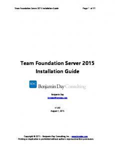 Team Foundation Server 2015 Installation Guide