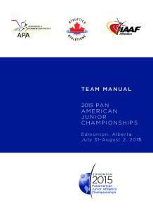 TEAM MANUAL 2015 PA N AMERICAN JUNIOR CHAMPIONSHIPS