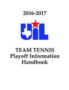 TEAM TENNIS Playoff Information Handbook