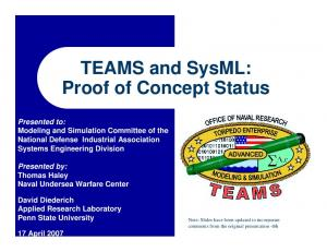 TEAMS and SysML: Proof of Concept Status