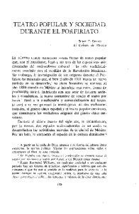 TEATRO POPULAR Y SOCIEDAD DURANTE EL PORFIRIATO