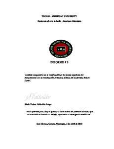 TECANA AMERICAN UNIVERSITY. Doctorate of Arts in Latin American Literature INFORME # 2