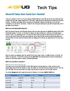 Tech Tips. More GP Data than Excel Can Handle?
