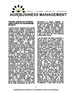 TECHIES, JUNKIES, AND HACKERS: COMPUTERS IN THE AGRIBUSINESS INDUSTRY