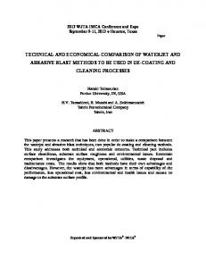 TECHNICAL AND ECONOMICAL COMPARISON OF WATERJET AND ABRASIVE BLAST METHODS TO BE USED IN DE-COATING AND CLEANING PROCESSES