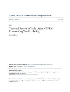 Technical Barriers to Trade Under NAFTA: Harmonizing Textile Labeling