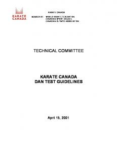 TECHNICAL COMMITTEE DAN TEST GUIDELINES