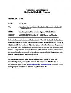 Technical Committee on Residential Sprinkler Systems