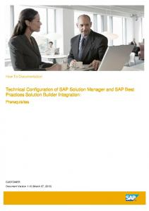 Technical Configuration of SAP Solution Manager and SAP Best Practices Solution Builder Integration: