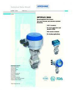 Technical Data Sheet. OPTIFLUX 5000 Electromagnetic Flow Sensor The most accurate and abrasion resistant flowmeter. 0