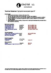 Technical Datasheet: High-performance plastic type CP