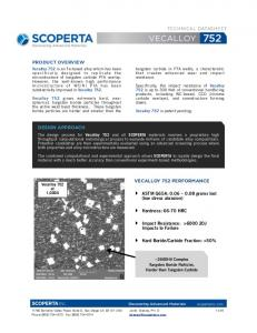 TECHNICAL DATASHEET PRODUCT OVERVIEW DESIGN APPROACH VECALLOY 752 PERFORMANCE. ASTM G65A: grams lost (low stress abrasion)