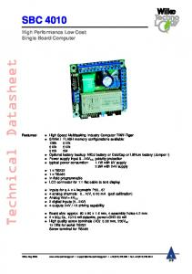 Technical Datasheet SBC High Performance Low Cost Single Board Computer. 1 of 8