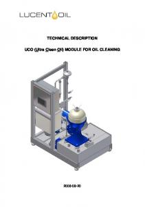 TECHNICAL DESCRIPTION. UCO (Ultra Clean Oil) MODULE FOR OIL CLEANING