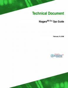 Technical Document. Niagara AX-3.x Opc Guide. February 18, 2008