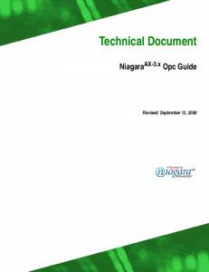 Technical Document. Niagara AX-3.x Opc Guide. Revised: September 12, 2006