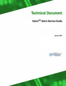 Technical Document. Vykon AX Alarm Service Guide. July 25, 2007