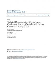 Technical Documentation: Oxygen-based Combustion Systems (Oxyfuels) with Carbon Capture and Storage (CCS)