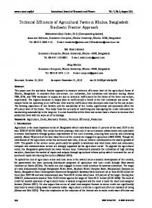 Technical Efficiency of Agricultural Farms in Khulna, Bangladesh: Stochastic Frontier Approach