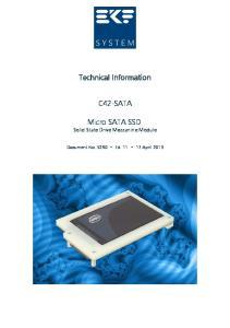 Technical Information C42-SATA. Micro SATA SSD Solid State Drive Mezzanine Module