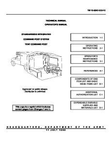 TECHNICAL MANUAL OPERATOR'S MANUAL