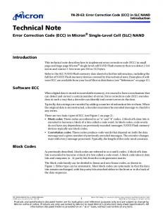 Technical Note. Error Correction Code (ECC) in Micron Single-Level Cell (SLC) NAND. Introduction. Software ECC. Block Codes