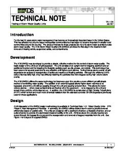 TECHNICAL NOTE Testing of Storm Water Quality Units
