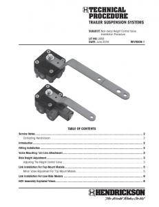 TECHNICAL PROCEDURE TRAILER SUSPENSION SYSTEMS TABLE OF CONTENTS