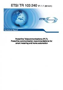 Technical Report Powerline Telecommunications (PLT); Powerline communication recommendations for smart metering and home automation