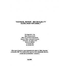 TECHNICAL REPORT - WATER QUALITY GUIDELINES FOR COBALT