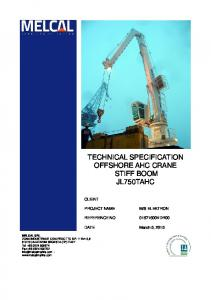TECHNICAL SPECIFICATION OFFSHORE AHC CRANE STIFF BOOM JL750TAHC CLIENT