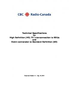 Technical Specifications for High Definition (HD) TV Interconnection to BDUs and Down-conversion to Standard Definition (SD)