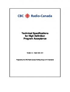 Technical Specifications for High Definition Program Acceptance