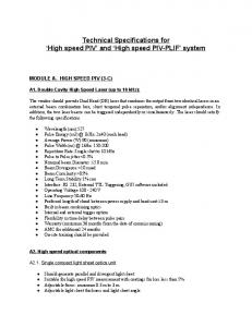Technical Specifications for High speed PIV and High speed PIV PLIF system
