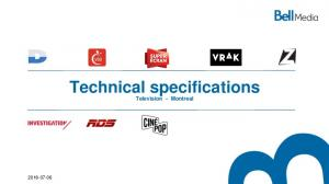 Technical specifications Television - Montreal