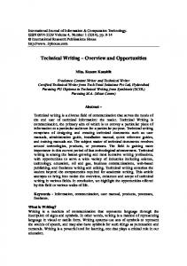 Technical Writing Overview and Opportunities