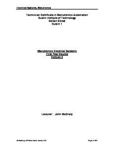 Technician Certificate in Manutronics Automation Dublin Institute of Technology Bolton Street Dublin 1