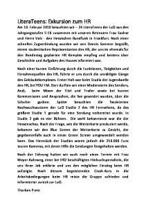 Technik, Menschlichkeit und Coolness LiteraTeens beim Hessischen Rundfunk