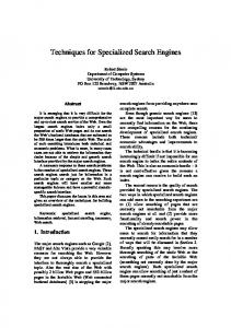 Techniques for Specialized Search Engines