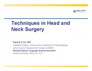 Techniques in Head and Neck Surgery