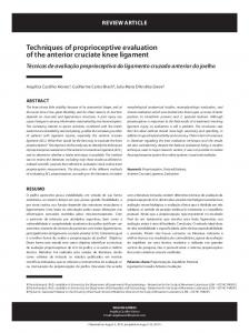 Techniques of proprioceptive evaluation of the anterior cruciate knee ligament