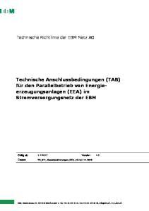 Technische Anschlussbedingungen (TAB) für den Parallelbetrieb von Energieerzeugungsanlagen