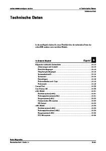 Technische Daten. In diesem Kapitel Kapitel 6